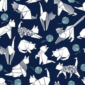 Small scale // Origami kitten friends playing // navy blue background white paper cats playing with blue wool balls