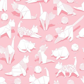 Small scale // Origami kitten friends playing // pastel pink background white paper cats playing with wool balls