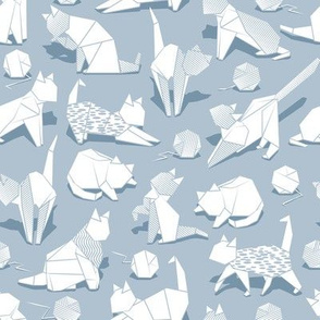 Small scale // Origami kitten friends playing // pastel blue background white paper cats playing with wool balls