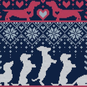 Normal scale // Fair Isle Knitting Doxie Love // navy blue background white and red dachshunds dogs bones paws and hearts