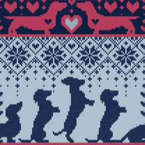 Normal scale // Fair Isle Knitting Doxie Love // grey background navy blue and red dachshunds dogs bones paws and hearts