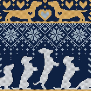 Normal scale // Fair Isle Knitting Doxie Love // navy blue background white and yellow dachshunds dogs bones paws and hearts