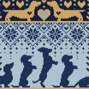 Normal scale // Fair Isle Knitting Doxie Love // grey background navy blue and yellow dachshunds dogs bones paws and hearts