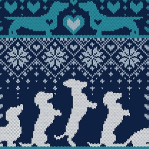 Normal scale // Fair Isle Knitting Doxie Love // navy blue background white and teal dachshunds dogs bones paws and hearts