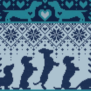 Normal scale // Fair Isle Knitting Doxie Love // grey background navy blue and teal dachshunds dogs bones paws and hearts