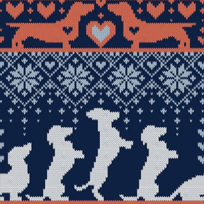 Normal scale // Fair Isle Knitting Doxie Love // navy blue background white and orange dachshunds dogs bones paws and hearts