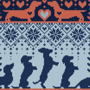 Normal scale // Fair Isle Knitting Doxie Love // grey background navy blue and orange dachshunds dogs bones paws and hearts