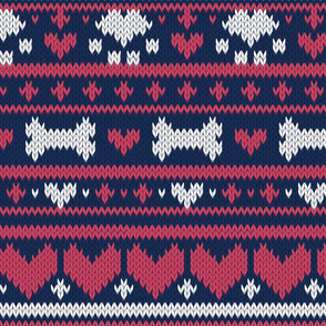 Normal scale // Fair Isle Knitting Doggies Love // navy blue background white bones and dogs paws red hearts