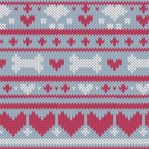 Normal scale // Fair Isle Knitting Doggies Love // grey background white bones and dogs paws red hearts