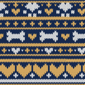 Normal scale // Fair Isle Knitting Doggies Love // navy blue background white bones and dogs paws yellow hearts