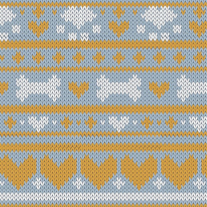 Normal scale // Fair Isle Knitting Doggies Love // grey background white bones and dogs paws yellow hearts