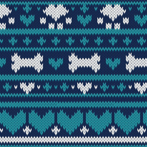 Normal scale // Fair Isle Knitting Doggies Love // navy blue background white bones and dogs paws teal hearts