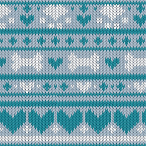Normal scale // Fair Isle Knitting Doggies Love // grey background white bones and dogs paws teal hearts