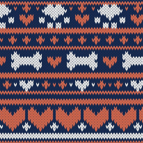 Normal scale // Fair Isle Knitting Doggies Love // navy blue background white bones and dogs paws orange hearts