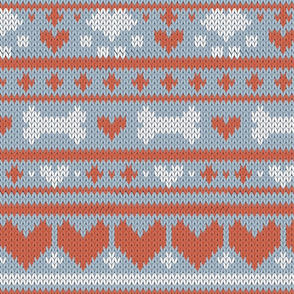 Normal scale // Fair Isle Knitting Doggies Love // grey background white bones and dogs paws orange hearts