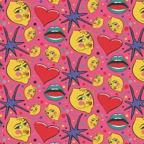 pop art angsty lemons, small scale, red pink blue green yellow lavender black
