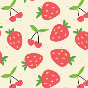 Cherry strawberry seamless pattern with polka dots on Apricot White background