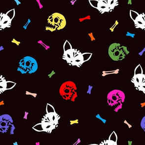 Skull and bones of a cat and a human