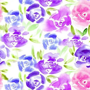 Roses garden in purple, blue, pink ll watercolor flowers
