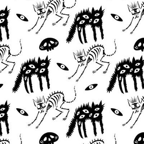 Cute skeletons and ghosts of cats
