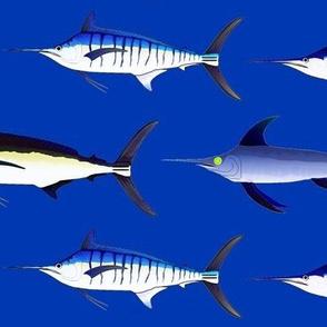 5 billfish on dark sea blue sized