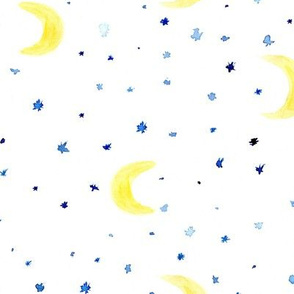 Watercolor moons and stars ll large scale pattern for nursery