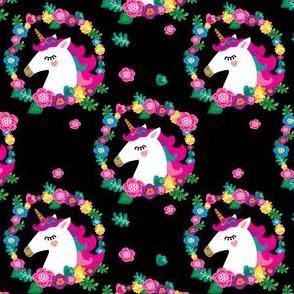 Unicorn in a wreath of flowers