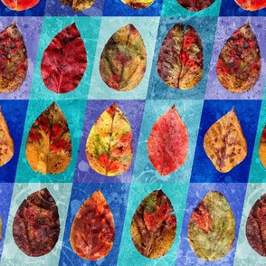 Red Autumn Leaves on Blue Background