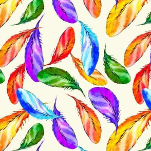 Summer Bright Watercolor Tropical Feathers