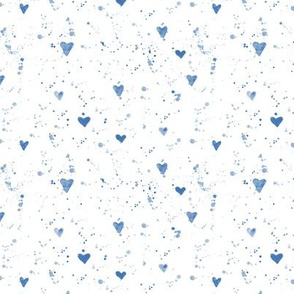 Hearts and splatters, small scale watercolor pattern for nursery