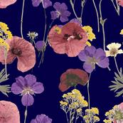 Pressed flowers in dark blue