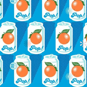 Orange Pop!* (Sky) || fruit orange soda cans vintage packaging halftone dot screen star leaves aluminum