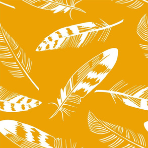 Feathers on a yellow background