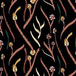 Black Botanical Flowers