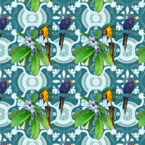 Hawaiian Flowers, Parrots, and Tiles