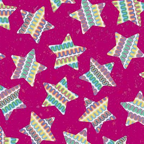 Colorful Stars on Magenta by ArtfulFreddy