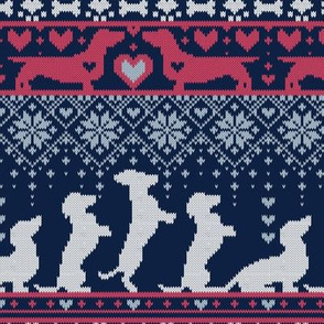 Small scale // Fair Isle Knitting Doxie Love // grey background navy blue and red dachshunds dogs bones paws and hearts