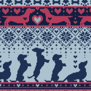 Small scale // Fair Isle Knitting Doxie Love // navy blue background white and red dachshunds dogs bones paws and hearts