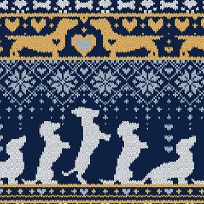 Small scale // Fair Isle Knitting Doxie Love // navy blue background white and yellow dachshunds dogs bones paws and hearts