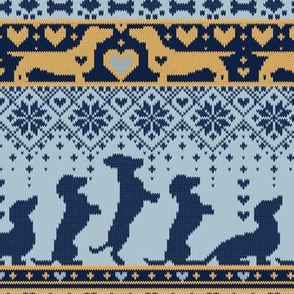 Small scale // Fair Isle Knitting Doxie Love // grey background navy blue and yellow dachshunds dogs bones paws and hearts