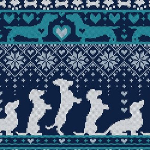 Small scale // Fair Isle Knitting Doxie Love // navy blue background white and teal dachshunds dogs bones paws and hearts