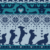 Small scale // Fair Isle Knitting Doxie Love // grey background navy blue and teal dachshunds dogs bones paws and hearts