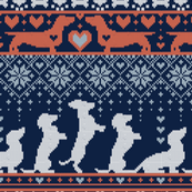 Small scale // Fair Isle Knitting Doxie Love // navy blue background white and orange dachshunds dogs bones paws and hearts