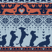 Small scale // Fair Isle Knitting Doxie Love // grey background navy blue and orange dachshunds dogs bones paws and hearts