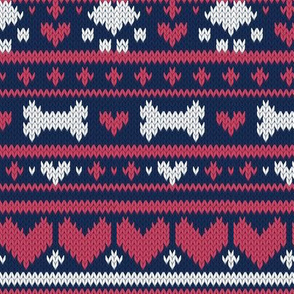Small scale // Fair Isle Knitting Doggies Love // navy blue background white bones and dogs paws red hearts