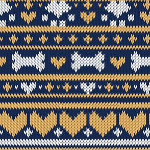 Small scale // Fair Isle Knitting Doggies Love // navy blue background white bones and dogs paws yellow hearts