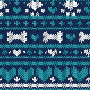 Small scale // Fair Isle Knitting Doggies Love // navy blue background white bones and dogs paws teal hearts