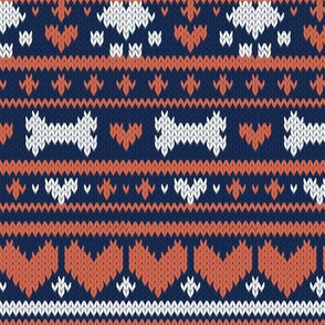 Small scale // Fair Isle Knitting Doggies Love // navy blue background white bones and dogs paws orange hearts