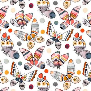 Pastel Watercolor Butterflies (Large Version)