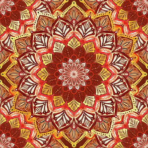 Boho Mandalas in Dark Red and Gold